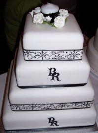 Black and White Monogram with Hand-Drawn Lace