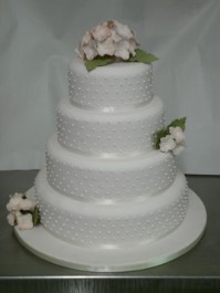 Dots and Pink Hydrangea Wedding Cake HomeBakeryBuckie