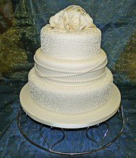 Pearls and Roses Wedding Cake HomeBakeryBuckie