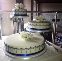 Separated 3-tier blue and white design