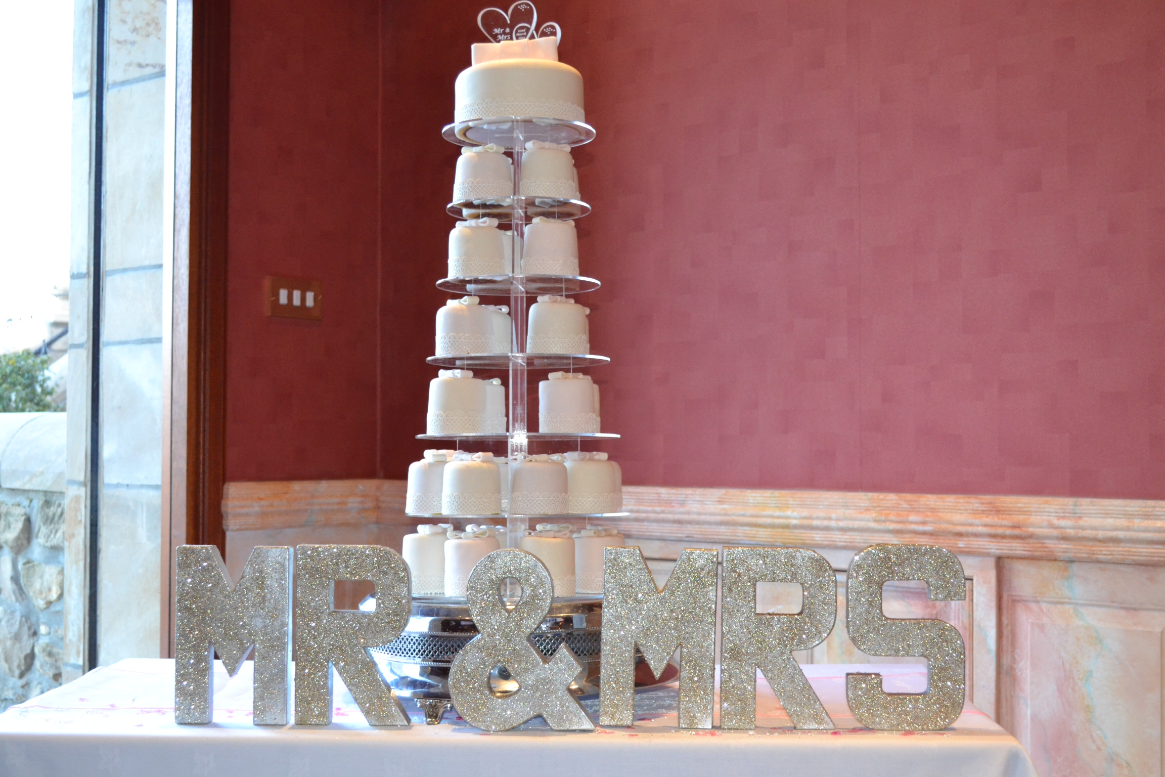 Wedding cake made from mini wedding cakes
